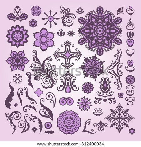Henna tattoo, Abstract Floral Illustration Design Elements on white background.