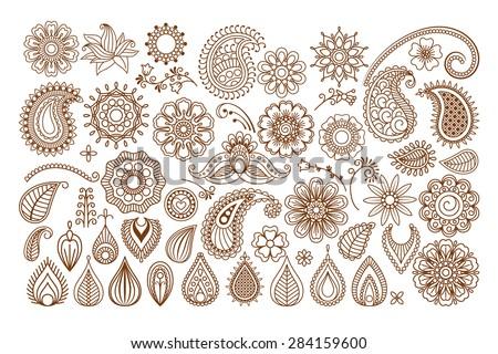 Henna tattoo doodle elements on white background - stock photo