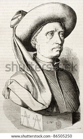 Henry the Navigator, infante of the Kingdom of Portugal. Created by Droz after old miniature, published on Magasin Pittoresque, Paris, 1843 - stock photo