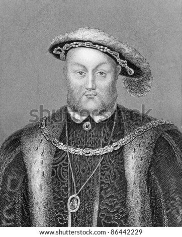Henry VIII (1491-1547). Engraved by Bocquet and published in the Catalogue of the Royal and Noble Authors, United Kingdom, 1806.