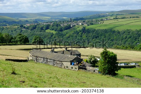 Heptonstall is a small village and civil parish within the Calderdale borough of West Yorkshire, England.  This shot was taken on the hill behind the cottages of Pecket Well