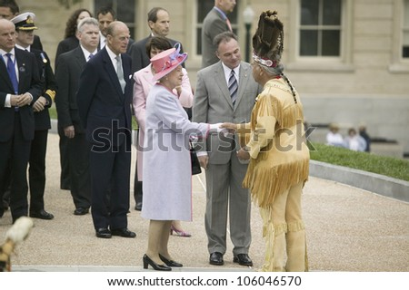 Her Majesty Queen Elizabeth II, Prince Philip and Virginia Governor Timothy M. Kaine meeting Powhatan Tribal Member, Virginia as part of the 400th anniversary of the Jamestown Settlement, May 3, 2007 - stock photo