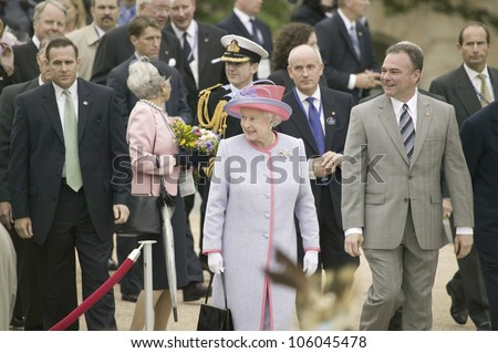 Her Majesty Queen Elizabeth II, Queen of England and Virginia Governor Timothy M. Kaine arriving at the Virginia State Capitol, Richmond Virginia, May 3, 2007 - stock photo