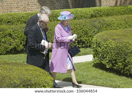 Her Majesty Queen Elizabeth II walking from Governor's Palace in Williamsburg Virginia, as part of the 400th anniversary of the English Settlement of Jamestown, Virginia, May 4, 2007