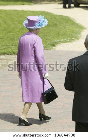 Her Majesty Queen Elizabeth II walking from Governor's Palace in Williamsburg Virginia, as part of the 400th anniversary of the English Settlement of Jamestown, Virginia, May 4, 2007 - stock photo