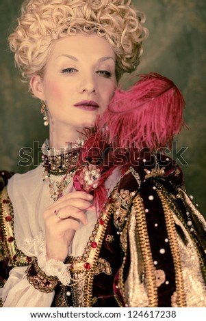 Her royal highness with plume - stock photo