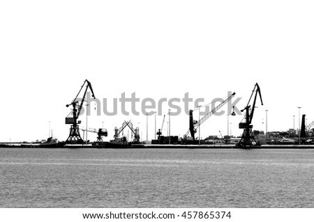 Heraklion Industrial Port in Black and White