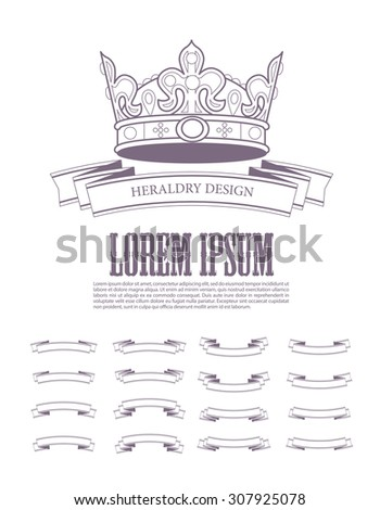 Heraldic elements design. Crown, ribbon collection. Ancient beauty and heraldry elements insignia. Traditional aristocracy signs. Heraldry template. - stock photo