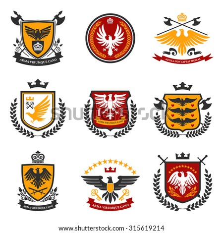 Heraldic emblems and shield set with eagle birds isolated  illustration - stock photo