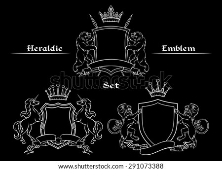 Heraldic logo signs set. Shield and crown, unicorn and spear, lion and bear - stock photo
