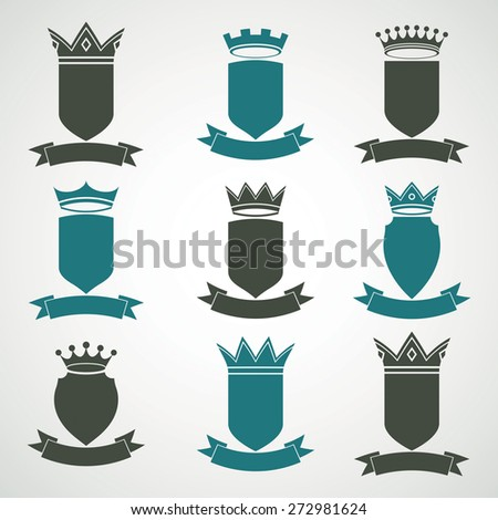Heraldic royal blazon illustrations set - imperial striped decorative coat of arms. Collection of shields with king crown and stylish ribbon.  - stock photo