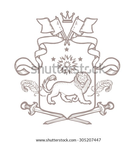 Heraldic royal crests coat of arms. Heraldry template on white background.
