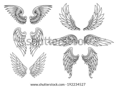 Heraldic wings set for tattoo or mascot design. Vector version also available in gallery