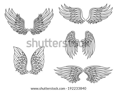 Heraldic wings set isolated on white background for design. Vector version also available in gallery