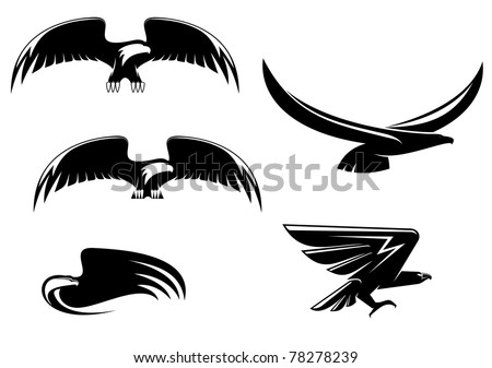 Heraldry eagle symbols and tattoo isolated on white, such a logo. Vector version also available