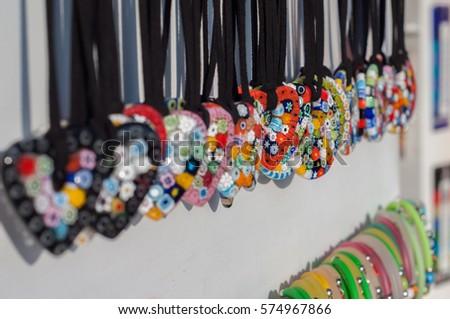 Herat shaped glass pendants sale souvenirs stock photo royalty free herat shaped glass pendants in sale as souvenirs for tourist in murano island venice aloadofball Gallery
