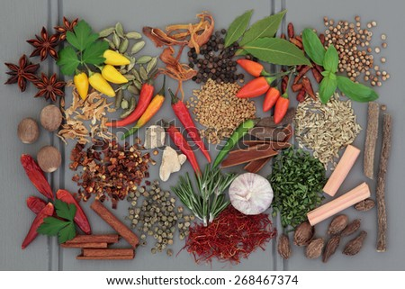 Herb and spice ingredients on a grey wooden background. - stock photo