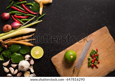 Herb spicy ingredients tools making thai stock photo edit now herb and spicy ingredients and tools for making thai food or tomyam recipe book with forumfinder Choice Image
