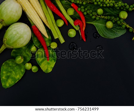 Herb spicy ingredients making thai food stock photo royalty free herb and spicy ingredients for making thai food on dark background recipes book thai forumfinder Choice Image