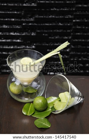 Herb drink lemon grass and lime . - stock photo