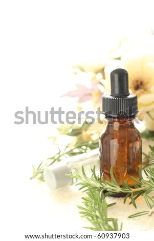 Herb essence with herb and floral for image of beauty salon