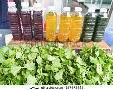 Herb juice fresh for health. - stock photo