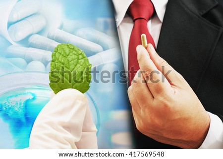 herb medicine research background - stock photo