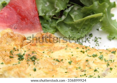 herb omelet served on plate  - stock photo
