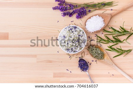 Herb salt of rosemary and lavender blossoms / herbal salt / rosemary and lavender