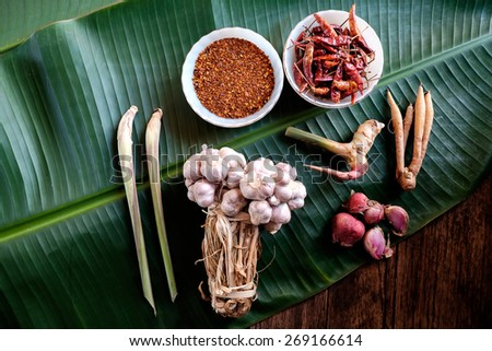 Herb set of Tom Yum Soup Ingredients. - stock photo