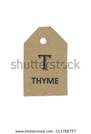 herb tag,paper,tag,vintage tag with clipping path,thyme tag