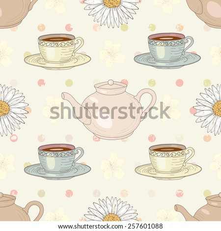 Herbal chamomile tea with cups and teapots on polka dot background seamless pattern. Vintage engraving style - stock photo