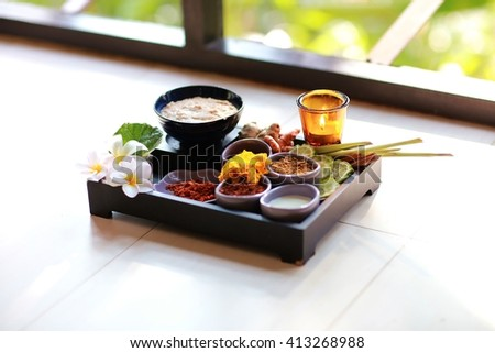 herbal compress massage in spa. / Natural spa - stock photo