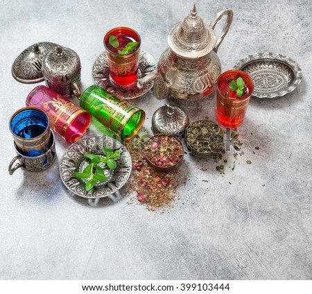 Herbal green tea with mint leaves. Oriental tea ceremony - stock photo