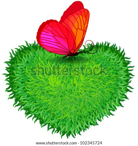 Herbal heart with a bright butterfly, environmental design, rasterized versions - stock photo