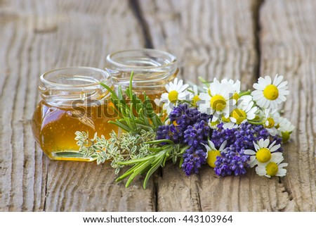 herbal honey with fresh herbs