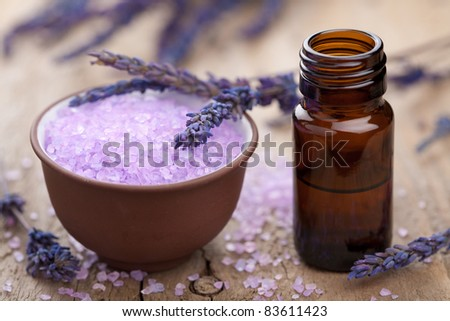 herbal lavender salt and essential oil - stock photo