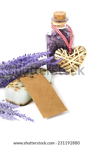 herbal lavender soap and bath salt  - stock photo