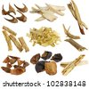 Herbal medicine : Assortment of Dried Chinese herbs isolated on white background (White peony root, licorice root, Dang Shen, Solomon's seal, Betel nut, Tangerine peels, Dong Quai) - stock photo