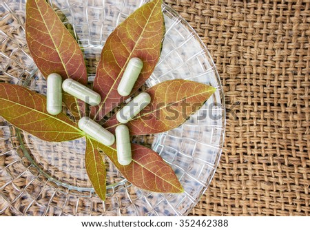 Herbal medicine in capsules on leaf - stock photo