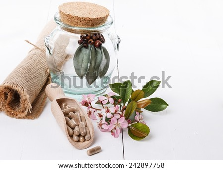 Herbal medicine pills and hawthorn over white background - stock photo