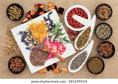Herbal naturopathic medicine selection also used in pagan witches magical potions over old paper background. - stock photo