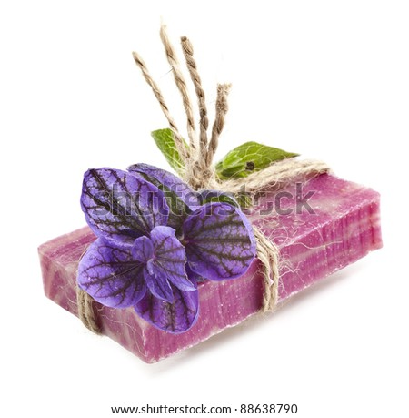 herbal soap with Salvia horminum isolated on white - stock photo