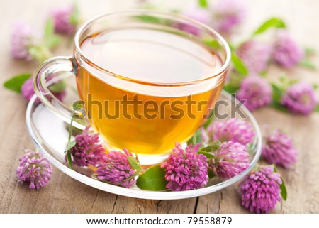 herbal tea and clover flowers