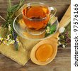 Herbal tea and honey - stock photo