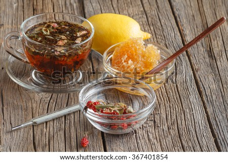 herbal tea and lemon - stock photo