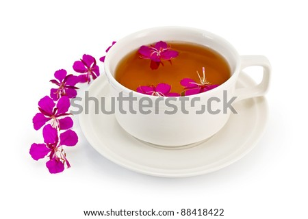 Herbal tea in a white cup with fireweed, fireweed pink flowers on a table isolated on white background - stock photo