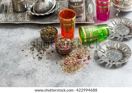 Herbal tea. Oriental dishes and glasses. Holidays food background - stock photo