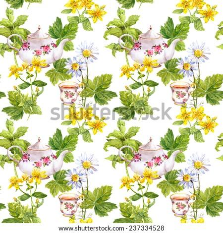 Herbal tea, tea herbs, teapot, tea cup. Repeating pattern. Watercolor - stock photo