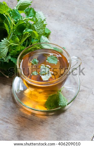 Herbal tea with green melissa